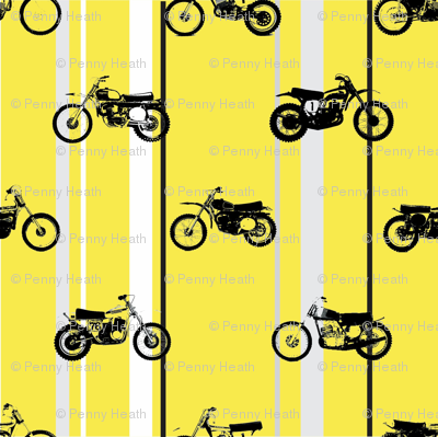 Classic motorcross yamaha yellow racing stripes