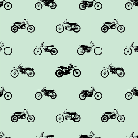 Classic motorcross vintage blue fabric by smuk on Spoonflower - custom fabric