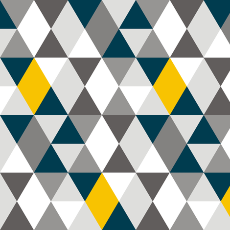 Geo Mod Navy Yellow Grey fabric by smuk on Spoonflower - custom fabric