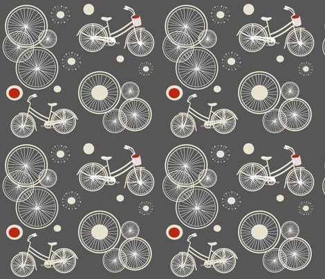 bicycles and wheels in gray fabric by rcm-designs on Spoonflower - custom fabric
