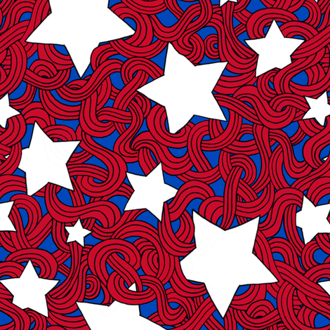Tangled Stars & Stripes fabric by leighr on Spoonflower - custom fabric