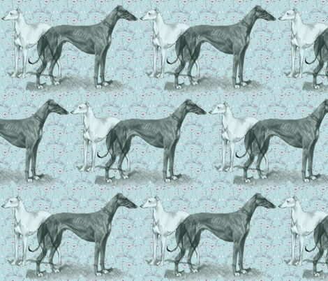 the greyhound and the whippet fabric fabric by dogdaze_ on Spoonflower - custom fabric