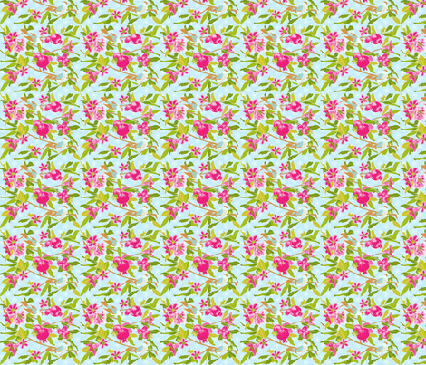 pomegranate and birds fabric by olena on Spoonflower - custom fabric