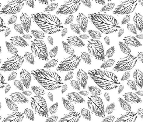 Leaf Pattern Black and White fabric by aftermyart on Spoonflower - custom fabric
