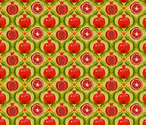 Papa's pomegranates fabric by bippidiiboppidii on Spoonflower - custom fabric