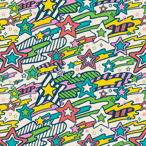 Stripey Stars fabric by r&r on Spoonflower - custom fabric