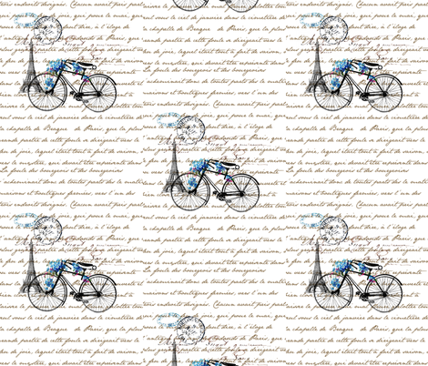 Paris Bicycle fabric by 13moons_design on Spoonflower - custom fabric