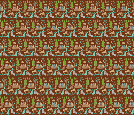 Lazy Beavers in Brown fabric by kbexquisites on Spoonflower - custom fabric