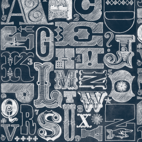 Woodtype Alphabet (Chalk) fabric by pennycandy on Spoonflower - custom fabric