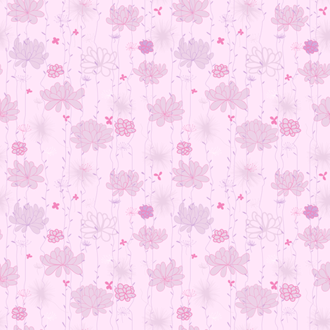 Plants background. Pink fabric by yaskii on Spoonflower - custom fabric