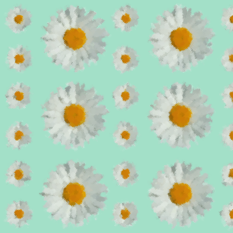 Daisies on SeaFoam Green fabric by kerrydee on Spoonflower - custom fabric