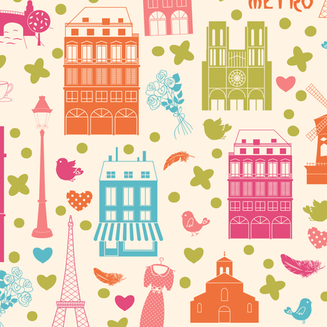Paris symbols fabric by inna_ogando on Spoonflower - custom fabric