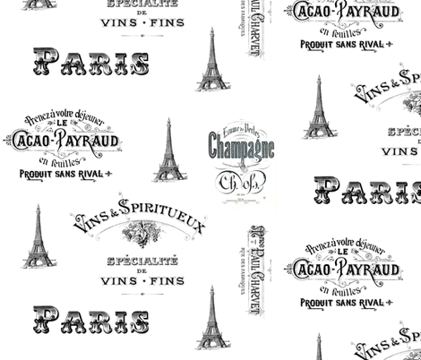 Paris Labels Collage fabric by 13moons_design on Spoonflower - custom fabric