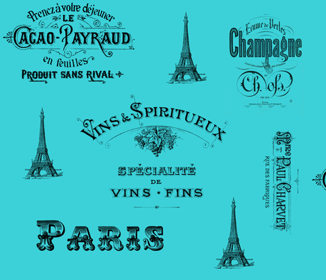 Paris Labels Collage Aqua fabric by 13moons_design on Spoonflower - custom fabric