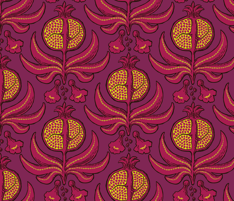Pomegranate Damask fabric by katielukas on Spoonflower - custom fabric