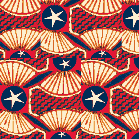 African Print Red White and Blue  on Blue Dot fabric by zi_zi on Spoonflower - custom fabric