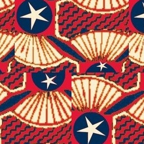 African Print Red White and Blue  on Blue Dot