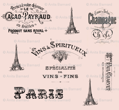 Paris Labels Collage Pink
