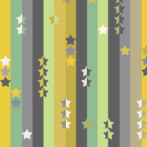 stripes and stars - green, grey and yellow fabric by uzumakijo on Spoonflower - custom fabric