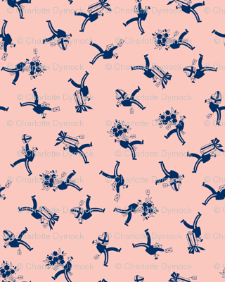 Delivery Boys - Navy on Pink
