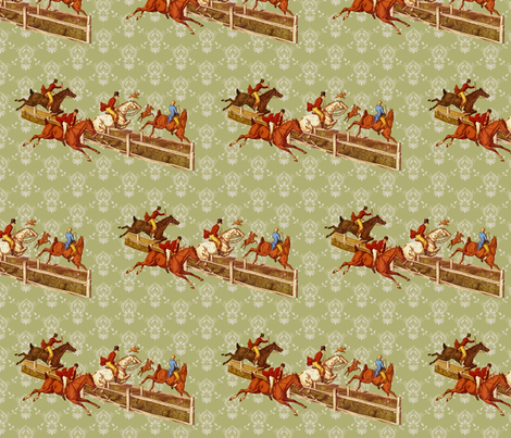 Foxhunters on celadon damask fabric by ragan on Spoonflower - custom fabric