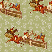 Foxhunters on celadon damask