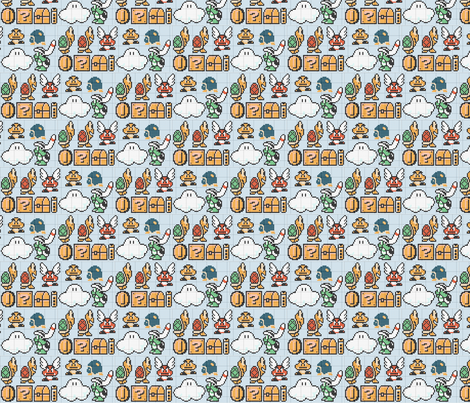 super mario brothers character pattern fabric by geekinspirations on Spoonflower - custom fabric