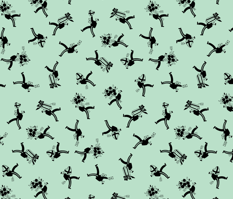 Delivery Boys - Aqua fabric by tuppencehapenny on Spoonflower - custom fabric