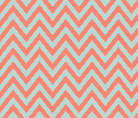 Mint Coral Chevron fabric by mgterry on Spoonflower - custom fabric