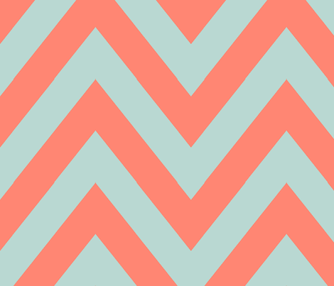 Mint Coral Chevron Large fabric by mgterry on Spoonflower - custom fabric