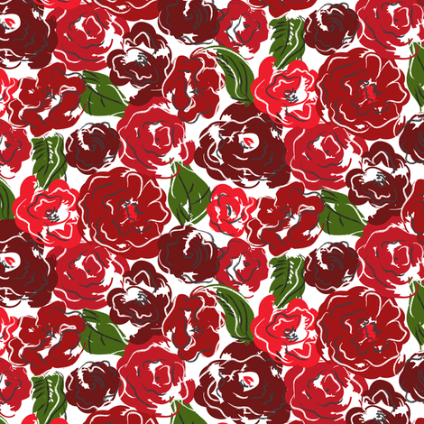 Red Rose Girl fabric by mag-o on Spoonflower - custom fabric