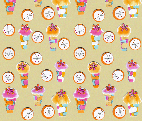 cupcake retro collage fabric by ruth-mary on Spoonflower - custom fabric