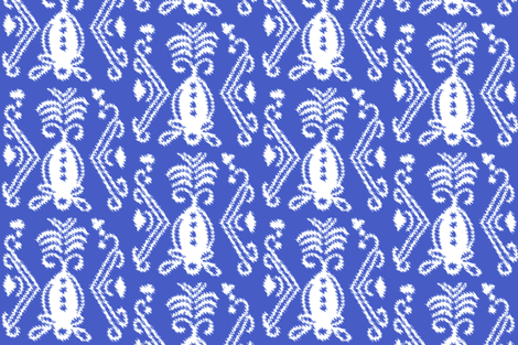 Pineapple Ikat Blue fabric by lulabelle on Spoonflower - custom fabric
