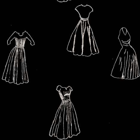 Classic Cocktail Dresses - Black fabric by datawolf on Spoonflower - custom fabric