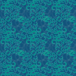 Moroccan Scroll in blue & green