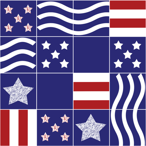 Stars and Stripes cheater quilt fabric by demouse on Spoonflower - custom fabric