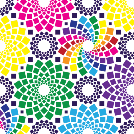 Kaleidoflowers (Rainbow) fabric by robyriker on Spoonflower - custom fabric