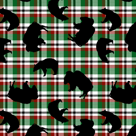 Jumbled Black Bears and Buffaloes fabric by fig+fence on Spoonflower - custom fabric