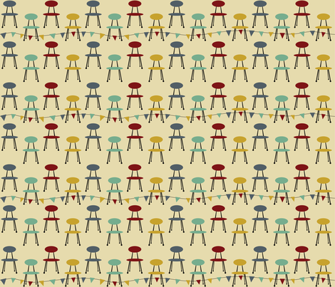 chairs_red_mint fabric by peppermintpatty on Spoonflower - custom fabric