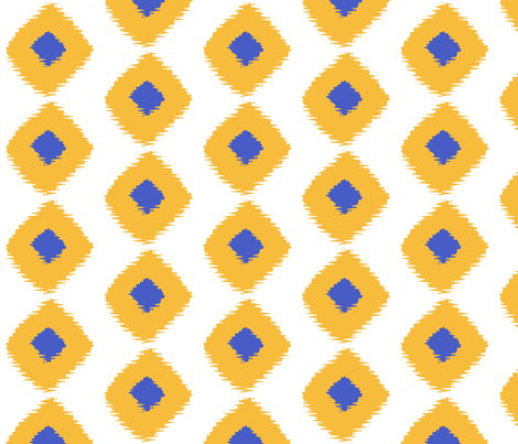 Ikat Square Saffron Blue fabric by lulabelle on Spoonflower - custom fabric