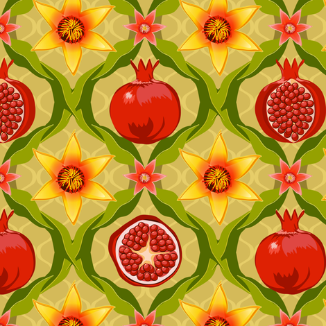 Papa's pomegranate flowers (yellow & pink) fabric by bippidiiboppidii on Spoonflower - custom fabric
