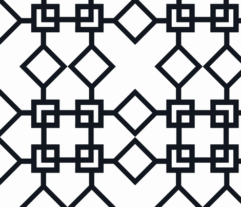 Climb the Trellis Black fabric by honey&fitz on Spoonflower - custom fabric
