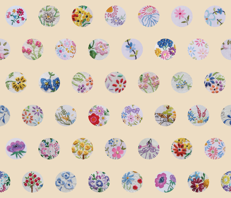 vintage_flower_circles fabric by peppermintpatty on Spoonflower - custom fabric