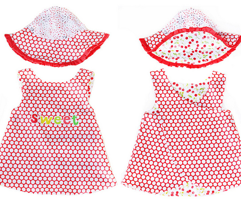 baby reversible pinafore apron dress and hat
