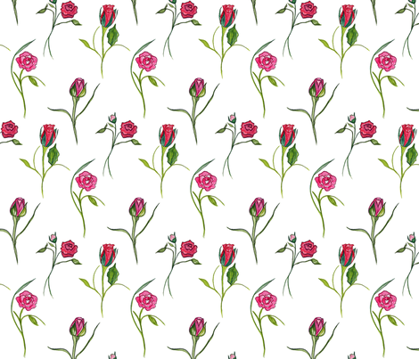Dancing Roses White fabric by de-ann_black on Spoonflower - custom fabric