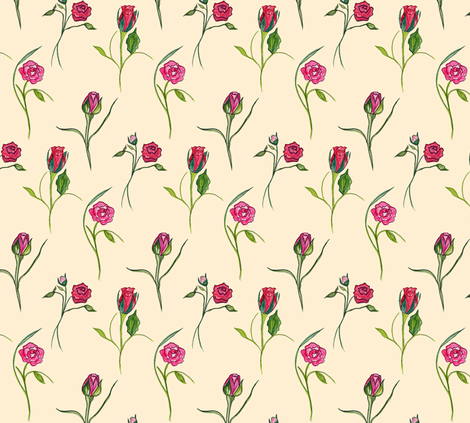 Dancing Roses Cream fabric by de-ann_black on Spoonflower - custom fabric