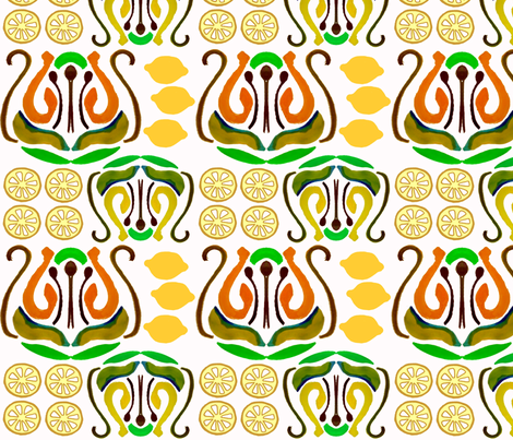 Lemon Ikat fabric by susanpolston on Spoonflower - custom fabric