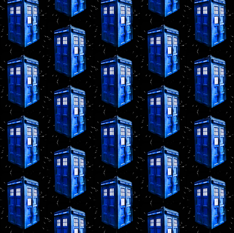 Doctor Who inspired Bright Blue TARDIS Patches