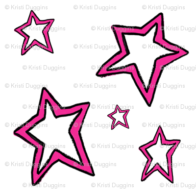 Hot Pink Stars on White