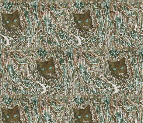 Camouflage Cat painting - viridian and burnt umber fabric by mina on Spoonflower - custom fabric